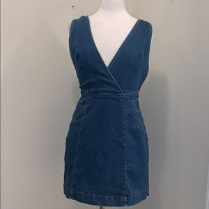 Free People Denim Jumper Medium Halter Dress